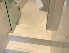 White Corian Floor with Steps