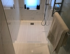 White Corian Shower Tray with Steps